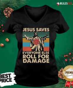 Jesus Saves Everyone Else Roll For Damage Vintage Retro V-neck - Design By Rulestee.com