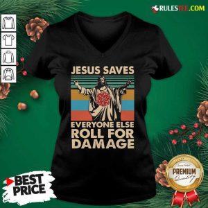 Jesus Saves Everyone Else Roll For Damage Vintage Retro V-neck - Design By Rulestee.com