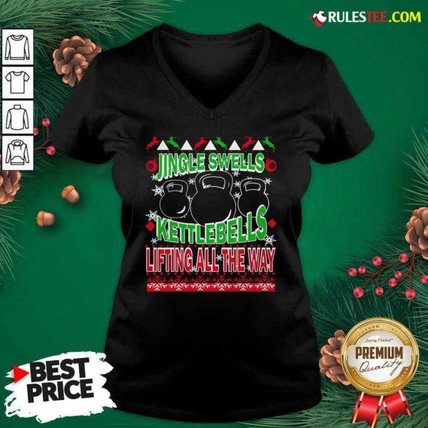 Jingle Swells Kettlebells Lifting All The Way Ugly Christmas V-neck - Design By Rulestee.com