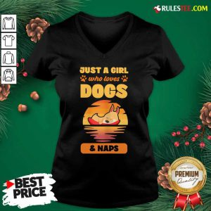 Just A Girl Who Loves Dogs And Naps V-neck - Design By Rulestee.com