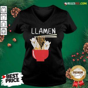 Llama Eat Llamen V-neck - Design By Rulestee.com