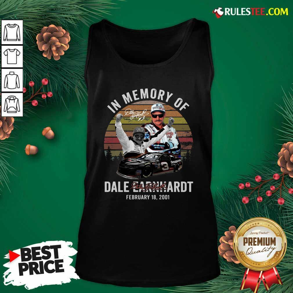 In Memory Of Dale Earnhardt February 18 2001 Signature Vintage Tank Top - Design By Rulestee.com