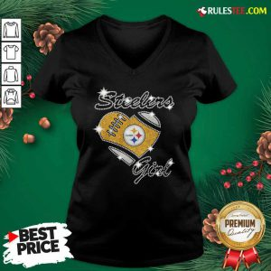 Pittsburgh Steelers Girl Heart Diamond V-neck- Design By Rulestee.com