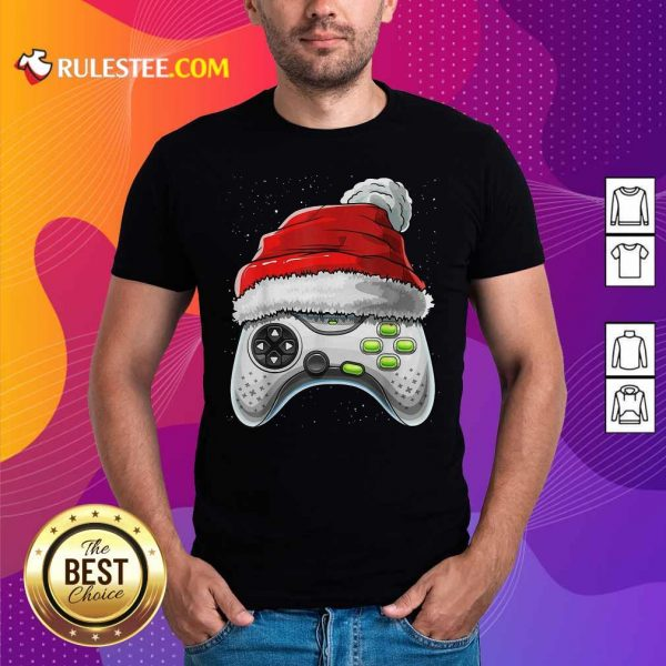 Video Game Controller Santa Hat Christmas Shirt - Design By Rulestee.com
