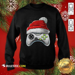 Video Game Controller Santa Hat Christmas Sweatshirt - Design By Rulestee.com