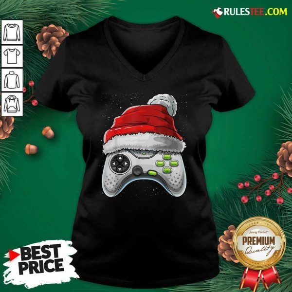 Video Game Controller Santa Hat Christmas V-neck - Design By Rulestee.com