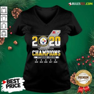 2020 AFC North Division Champions Pittsburgh Steelers V-neck - Design By Rulestee.com