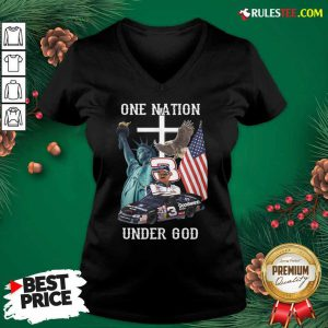 3 Goodwrench Dale Earnhardt One Nation Under God American Flag V-neck - Design By Rulestee.com