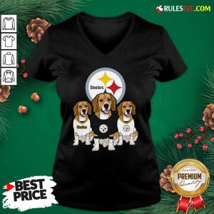 Beagle Pittsburgh Steelers Logo V-neck - Design By Rulestee.com