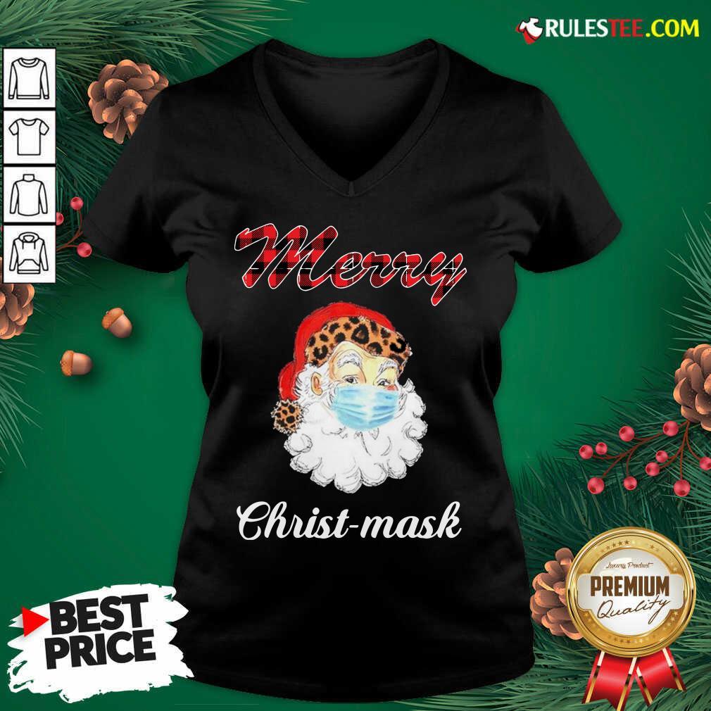 Santa Claus Face Mask Merry Christmas 2020 V-neck - Design By Rulestee.com