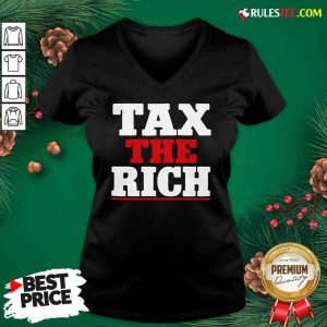Tax The Rich Red White V-neck - Design By Rulestee.com