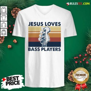 Guitar Jesus Loves Bass Players Vintage V-neck - Design By Rulestee.com