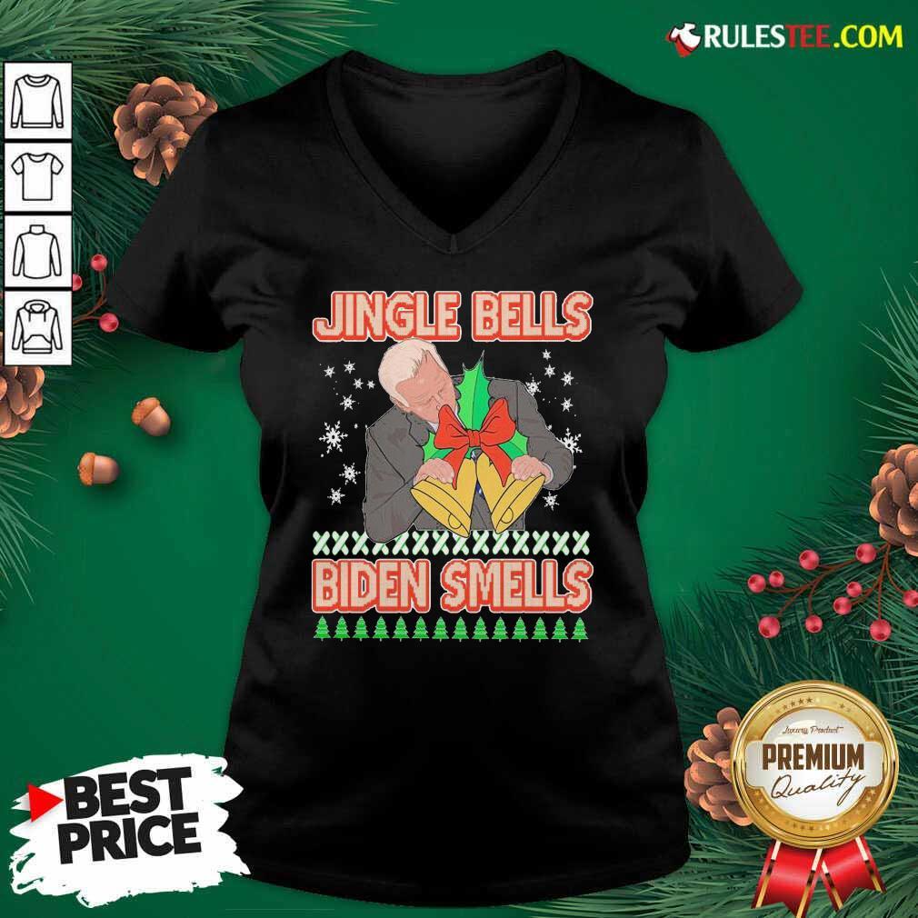 Jingle Bells Biden Smells Ugly Christmas 2020 V-neck - Design By Rulestee.com