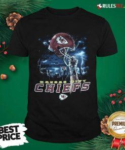 Kansas City Chiefs Sky Helmet Black T-Shirt- Design By Rulestee.com