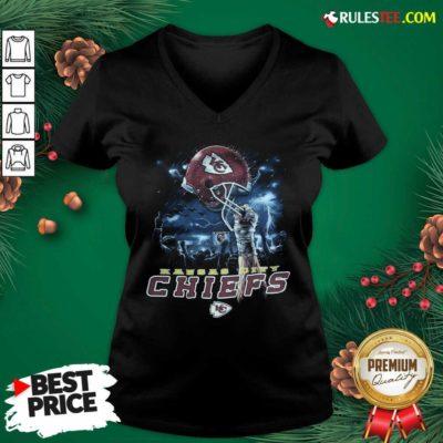 Kansas City Chiefs Sky Helmet Black V-neck- Design By Rulestee.com