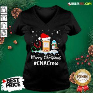 Nurse Santa Vaccine Merry Christmas #CNA Crew V-neck - Design By Rulestee.com