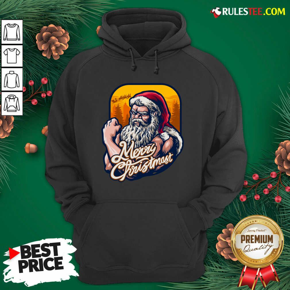 Nice Xmas Strong Cool Santa Claus Merry Christmas With Background Tree Hoodie - Design By Rulestee.com