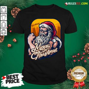 Nice Xmas Strong Cool Santa Claus Merry Christmas With Background Tree Shirt - Design By Rulestee.com