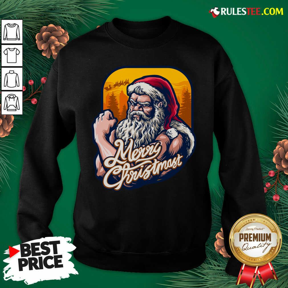 Nice Xmas Strong Cool Santa Claus Merry Christmas With Background Tree Sweatshirt - Design By Rulestee.com