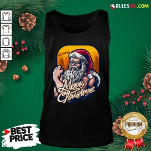 Nice Xmas Strong Cool Santa Claus Merry Christmas With Background Tree Tank Top - Design By Rulestee.com