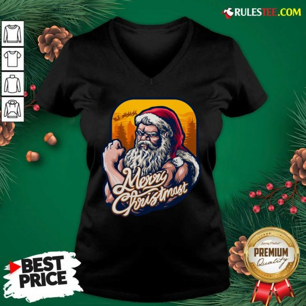 Nice Xmas Strong Cool Santa Claus Merry Christmas With Background Tree V-neck - Design By Rulestee.com