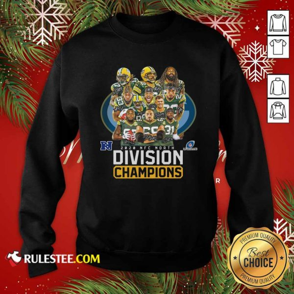 Bay Packers 2020 Nfc North Playoffs Division Champions Signatures Sweatshirt- Design By Rulestee.com