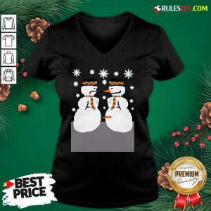 Official Cute Snowman Nose Thief Ugly Christmas V-neck - Design By Rulestee.com