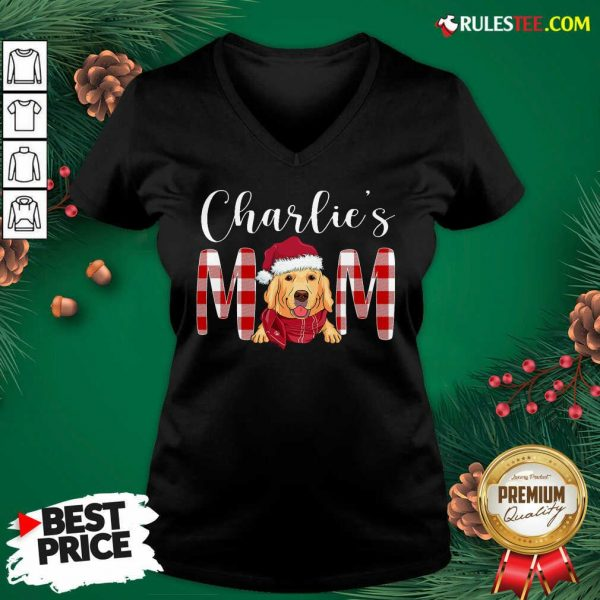 Official Golden Retriever Charlie's Mom Christmas V-neck - Design By Rulestee.com