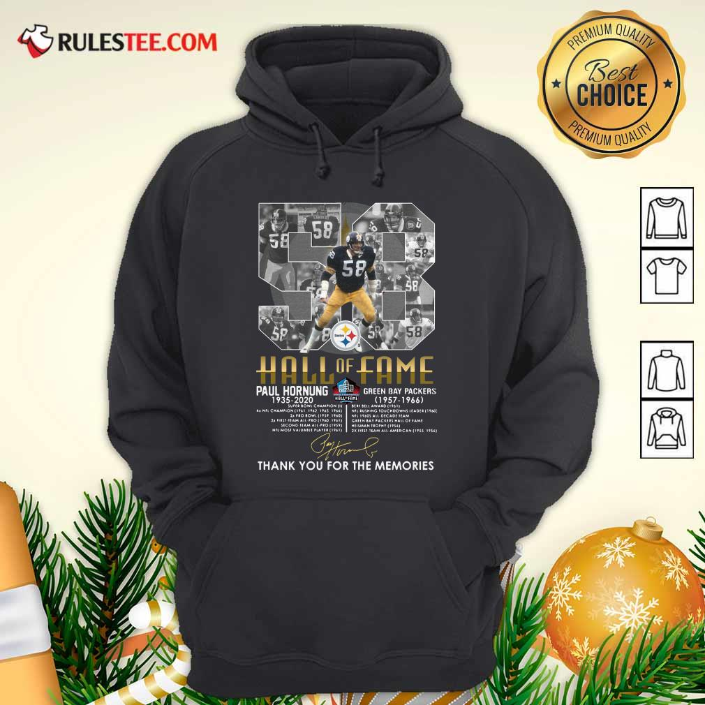 Hall Of Fame 58 Paul Hornung 1935 2020 Thank You For The Memories Signature Hoodie - Design By Rulestee.com