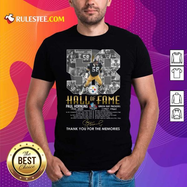 Hall Of Fame 58 Paul Hornung 1935 2020 Thank You For The Memories Signature Shirt - Design By Rulestee.com