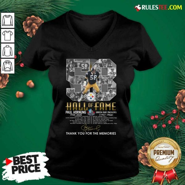 Hall Of Fame 58 Paul Hornung 1935 2020 Thank You For The Memories Signature V-neck - Design By Rulestee.com