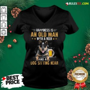 Happiness Is An Old Man With A Beer And A Dog Sitting Near V-neck - Design By Rulestee.com