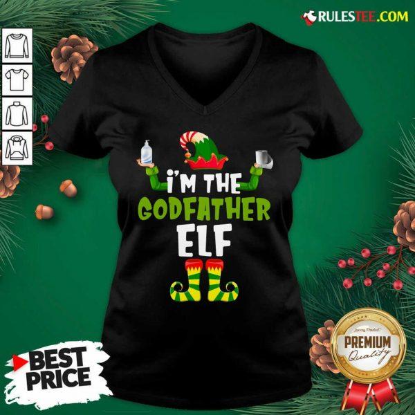 Official Im The Godfather Elf Quarantine Matching Christmas V-neck - Design By Rulestee.com