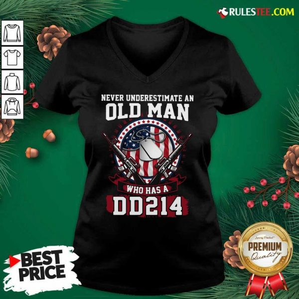 Never Underestimate Old Man Who Has A DD214 V-neck - Design By Rulestee.com