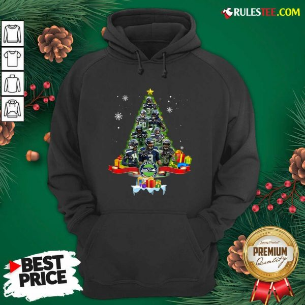 Seattle Seahawks Player Signatures Christmas Tree Hoodie - Design By Rulestee.com