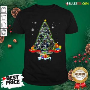 Seattle Seahawks Player Signatures Christmas Tree Shirt - Design By Rulestee.com