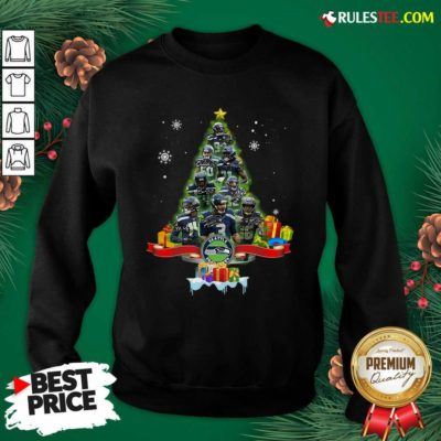 Seattle Seahawks Player Signatures Christmas Tree Sweatshirt - Design By Rulestee.com