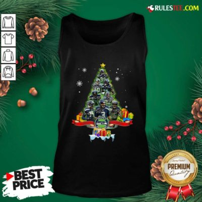Seattle Seahawks Player Signatures Christmas Tree Tank Top - Design By Rulestee.com