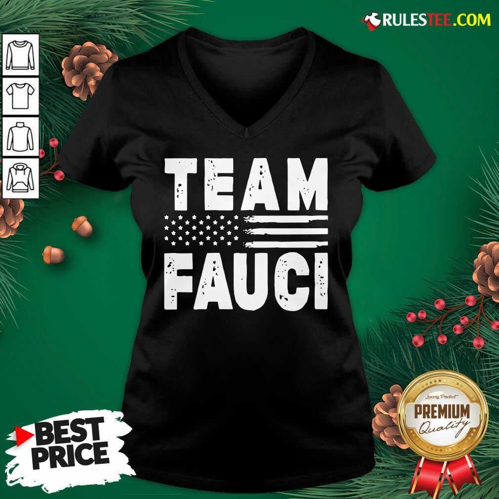 Team Fauci Face Mask American Flag V-neck - Design By Rulestee.com