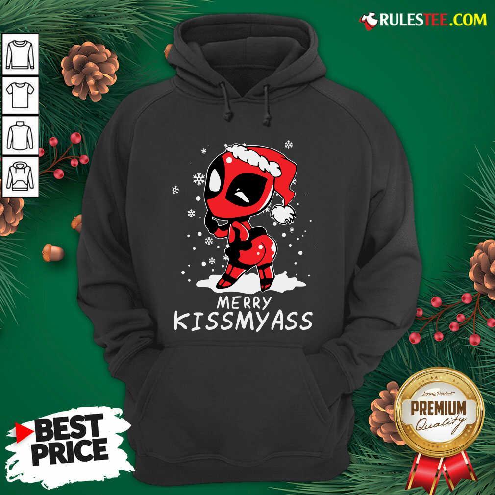 Original Cute Santa Deadpool Merry Kiss My Ass Christmas Hoodie  - Design By Rulestee.com
