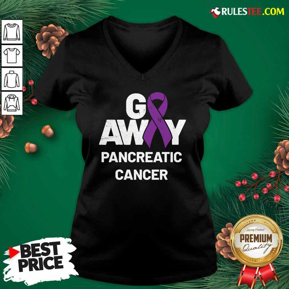 Go Away Pancreatic Cancer Awareness Purple Ribbon V-neck - Design By Rulestee.com