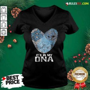 North Carolina Tar Heels Football It's In My DNA Heart V-neck - Design By Rulestee.com