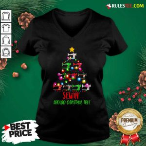 Sewing Around Christmas Tree V-neck - Design By Rulestee.com