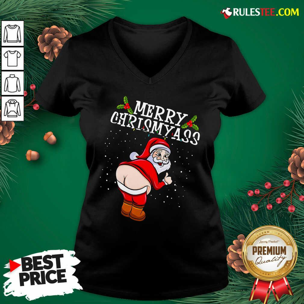 Perfect Christmas Santa Claus Naked Ass Merry Christmass V-neck - Design By Rulestee.com