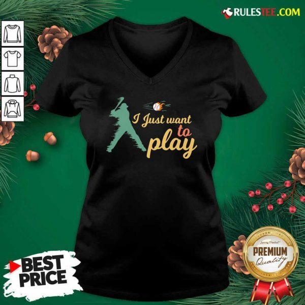 I Just Want To Play Baseball And Bat Mask Lockdown V-neck - Design By Rulestee.com
