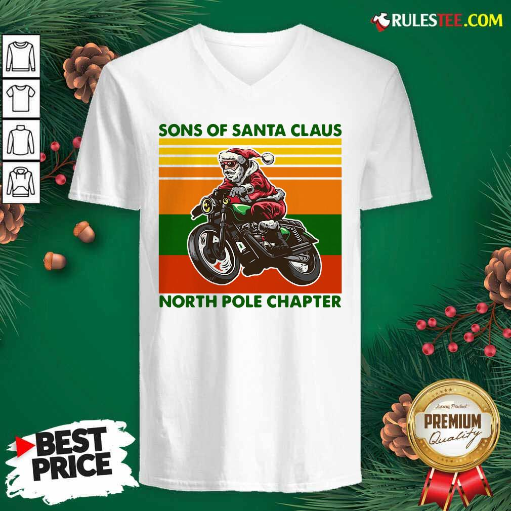 Motorcycle Sons Of Santa Claus North Pole Chapter Christmas V-neck - Design By Rulestee.com