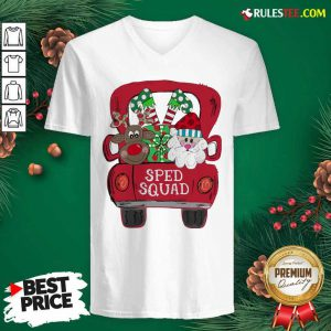 Reindeer Snd Santa Claus Sped Squad Christmas V-neck - Design By Rulestee.com