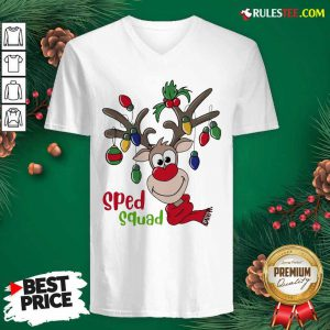 Reindeer Sped Squad Christmas V-neck - Design By Rulestee.com