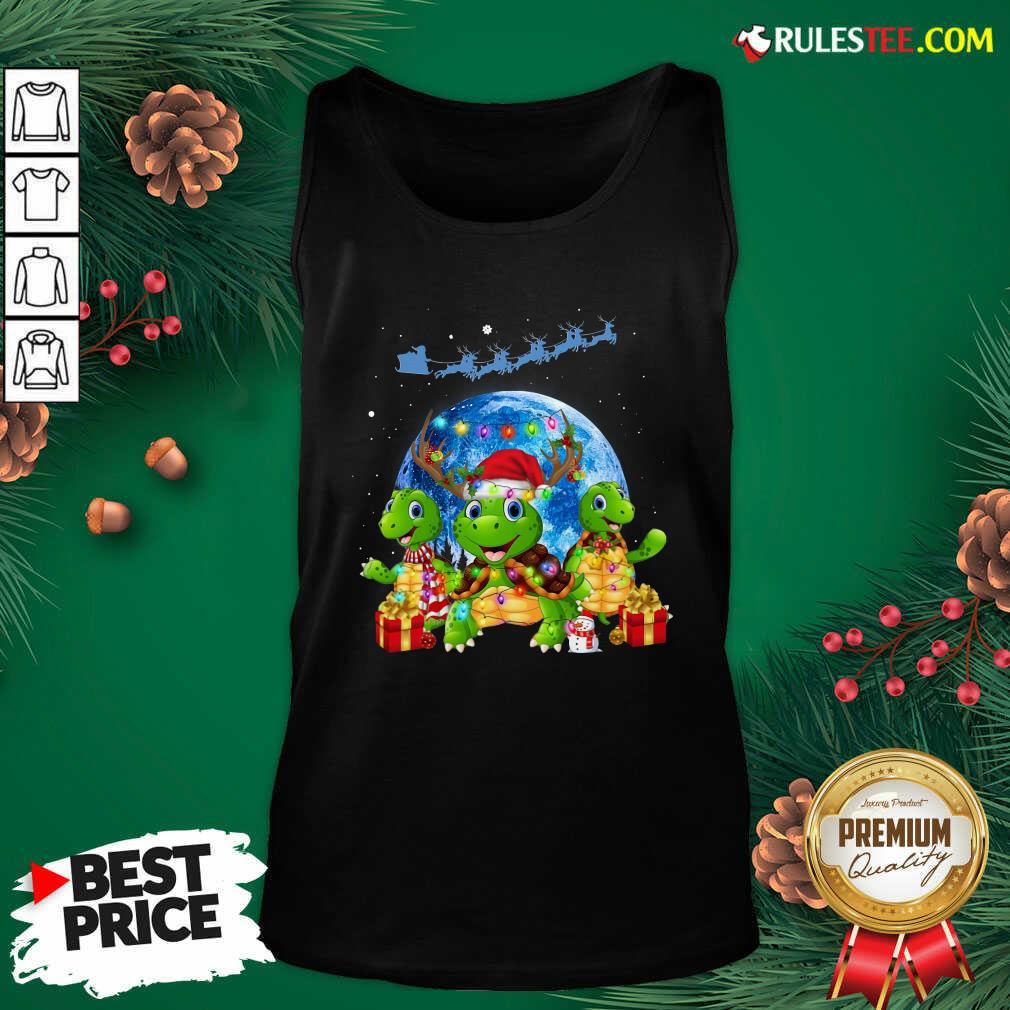 Three Turtle Santa Reindeer Merry Christmas Tank Top - Design By Rulestee.com