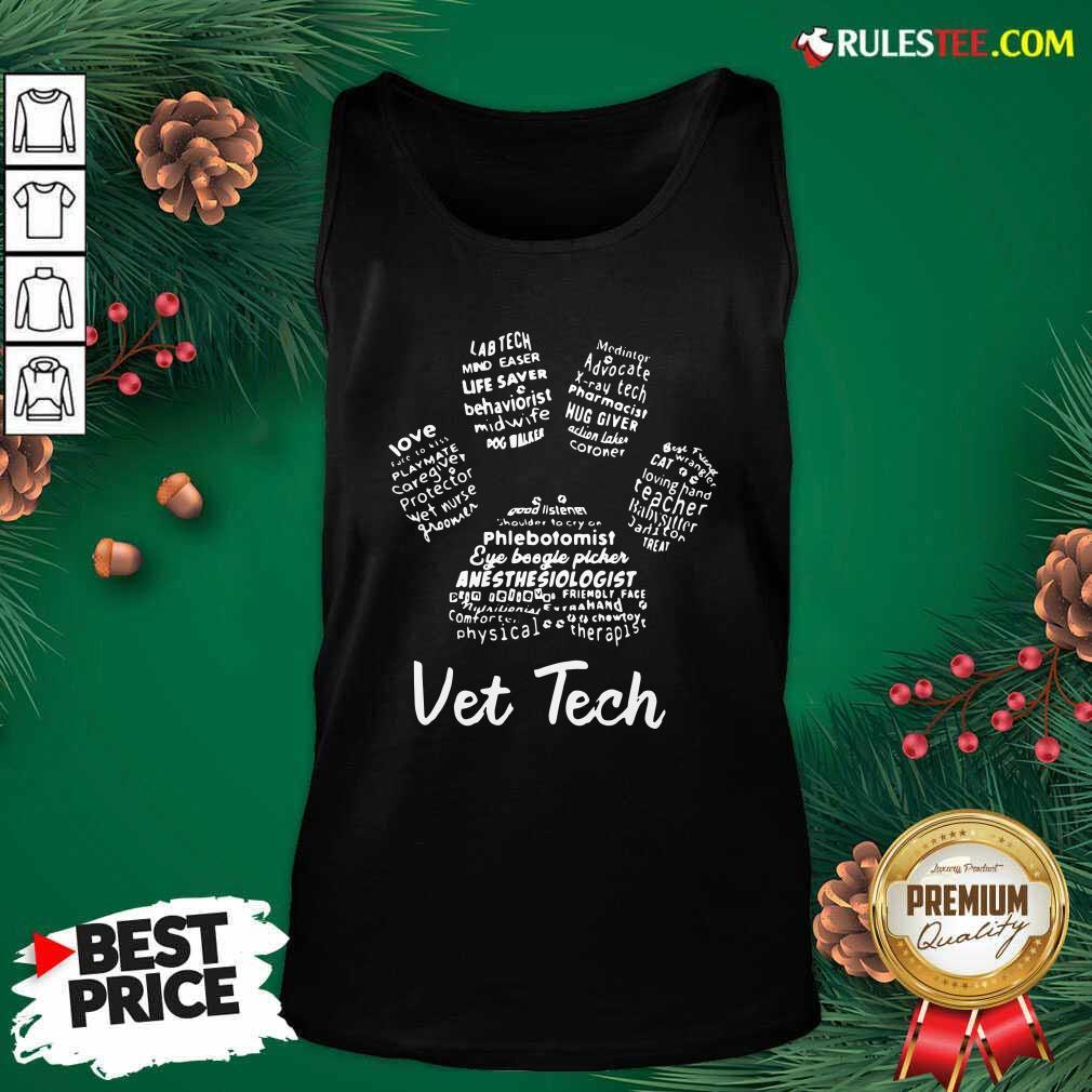 Vet Tech Paw Print Tank Top - Design By Rulestee.com